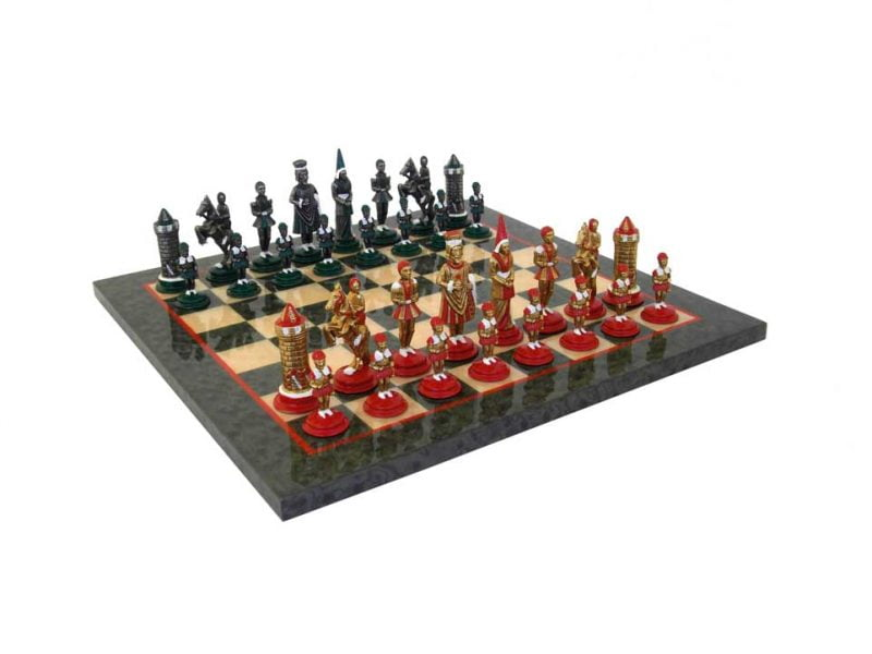 Hand Painted Metal Chessmem Pieces with Maple Chess Board