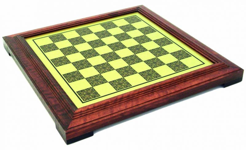 Choice Precious Wood Surrounds a Brass Inlaid Chess Board