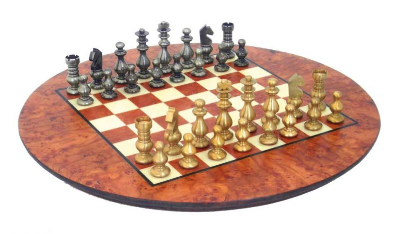 Solid Brass Chessmen with Burr Elm Board