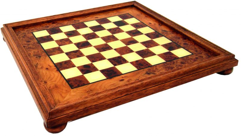 Elm Wood Chessboard with Wooden Frame