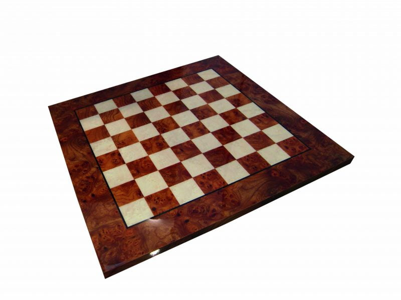 Burr Elm Chessboard with Glossy Finish