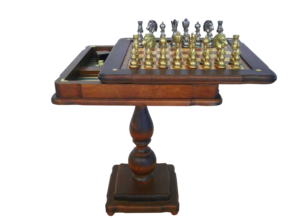 80B+TAV86BG Solid Brass Pieces and Chess Table with Inlaid Briar Elm Board