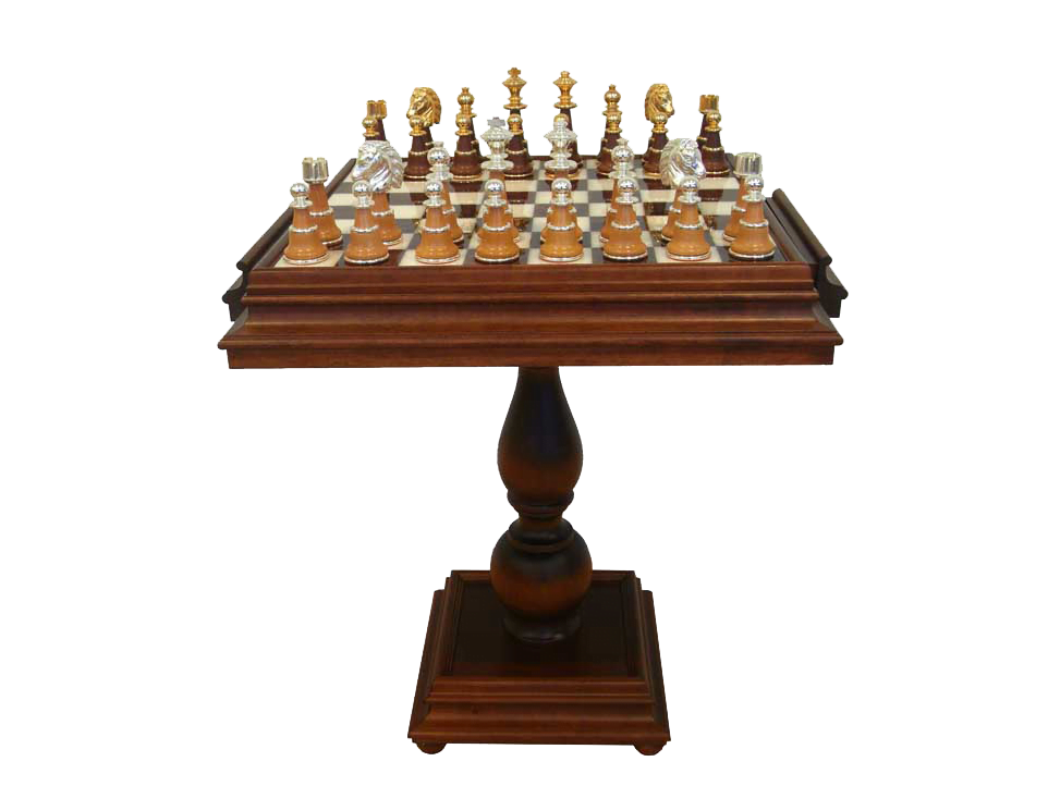 Brass and Wood Pieces Gold Plated on Inlaid Alabaster Chess Table